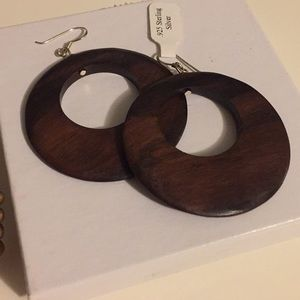Jewelry - NEW!!! WOOD hoop earrings w/sterling Silver post